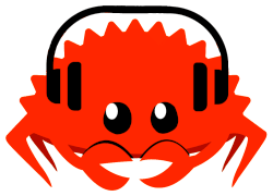 shellcaster logo: Ferris the crab with headphones