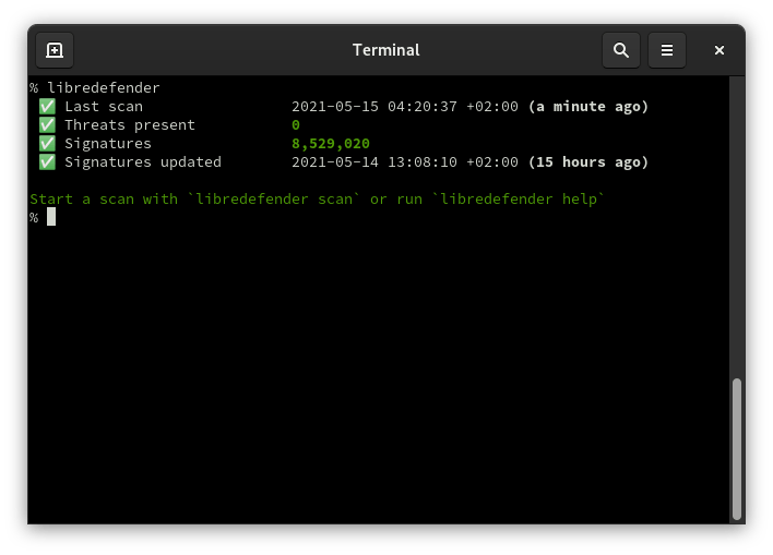 Screenshot showing a libredefender status report