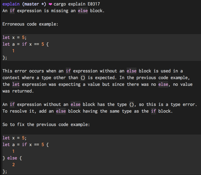 """Markdown with syntax highlighted code snippets from running """"cargo explain E0308"""""""