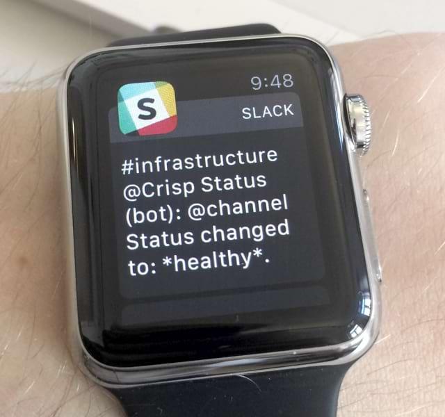 Vigil up alert on Apple Watch (Slack)