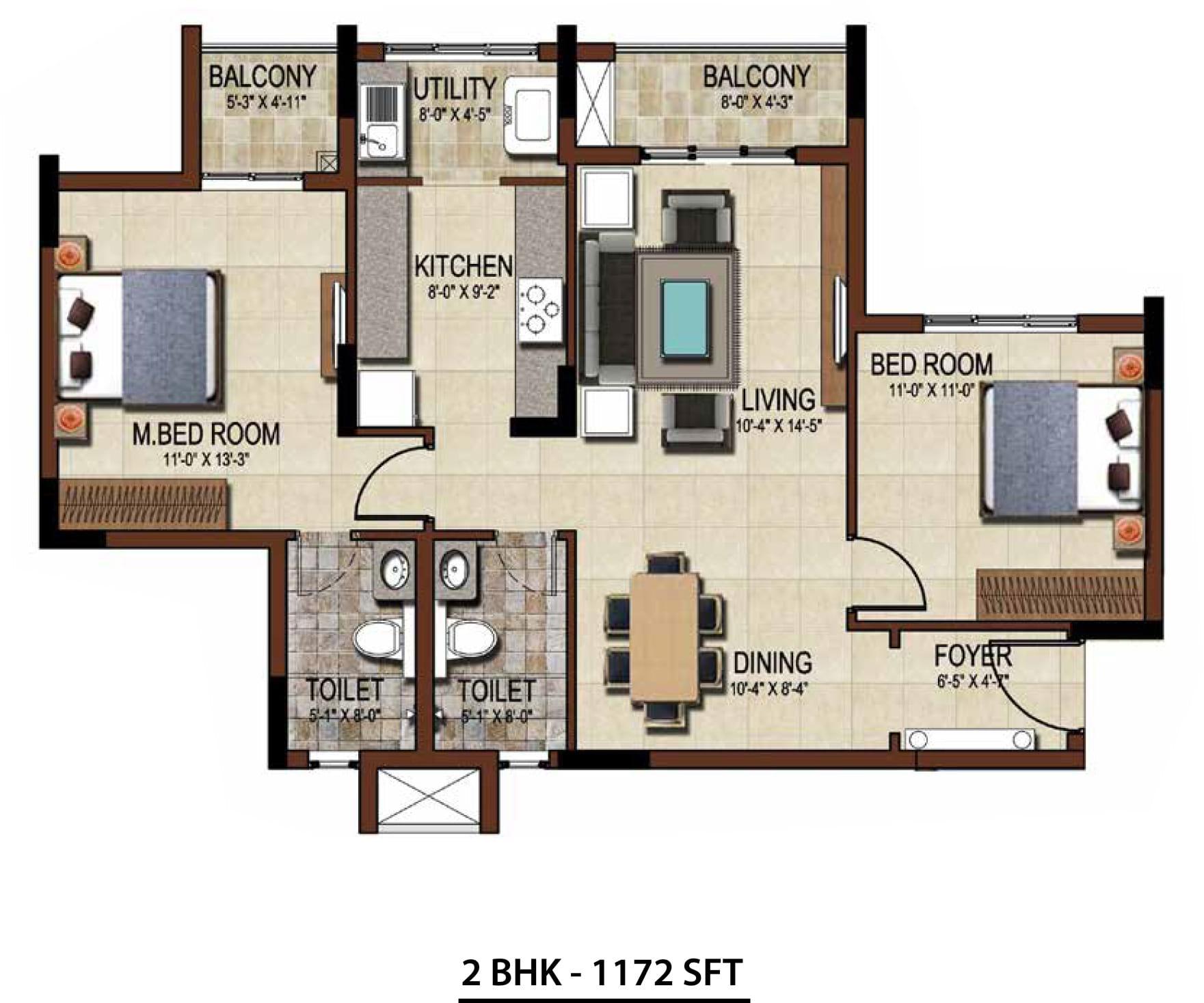 Salarpuria-Sattva-East-2bhk-1172-FloorPlan