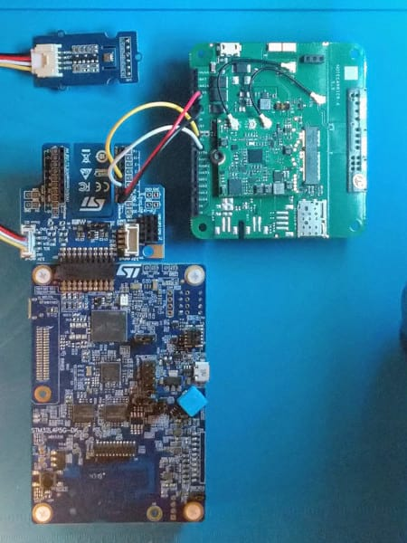 STM32 Discovery Board connected to BME680 and Notecarrier-AA