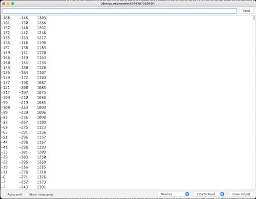 Arduino Serial Monitor accelerometer values