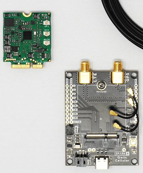 Picture of SparkFun Qwiic Cellular Notecarrier, Notecard, Cellular antenna & GPS antenna
