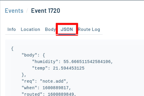 JSON tab selected