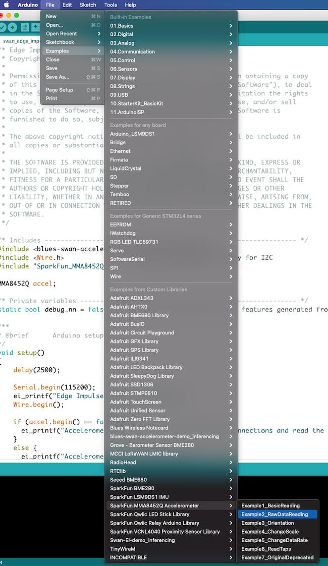 Example sketch menu in the Arduino IDE