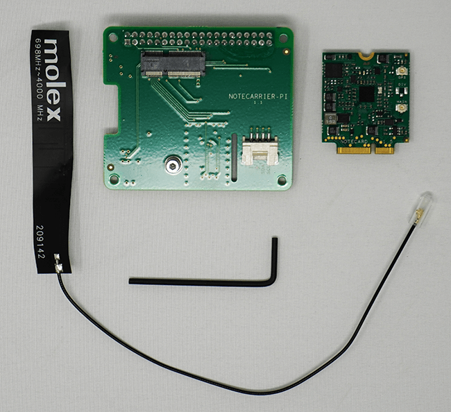 Picture of Notecarrier-Pi, Notecard, antenna, and allen wrench