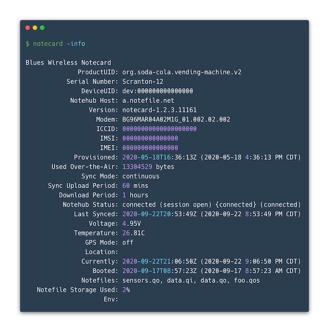 Image of The Notecard Info command