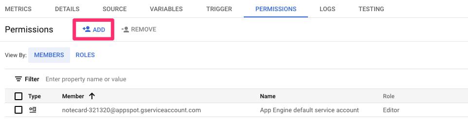 gcp add permissions button