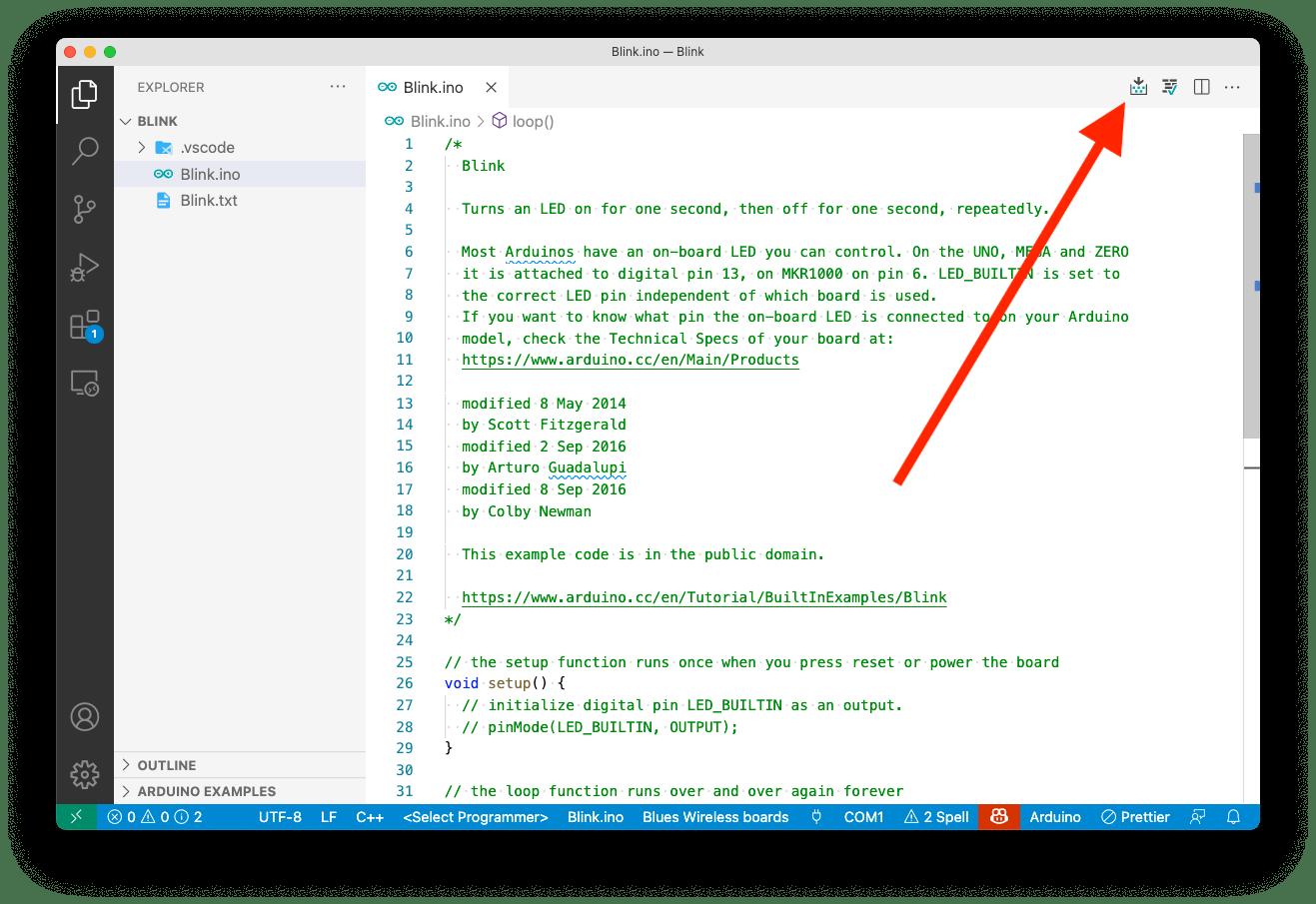 Upload button in VS Code