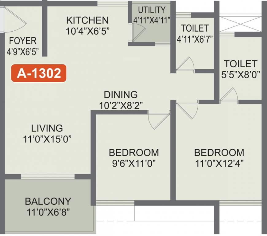 Rohan-Akriti-2bhk-1087-sqft-floorplan