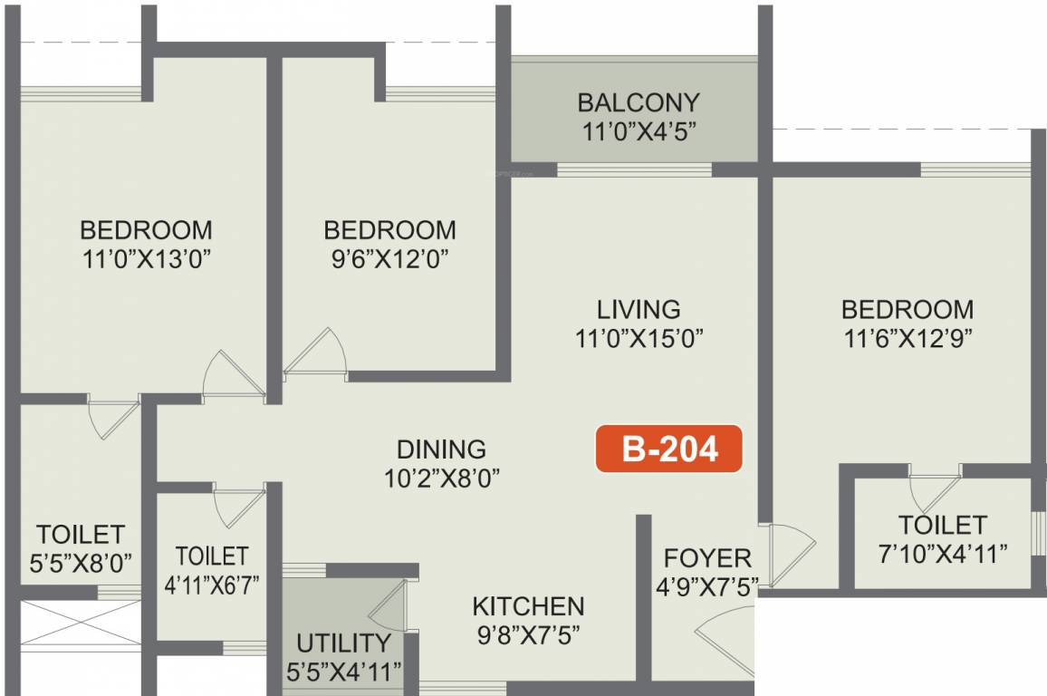 Rohan-Akriti-3bhk-1405-sqft-floorplan