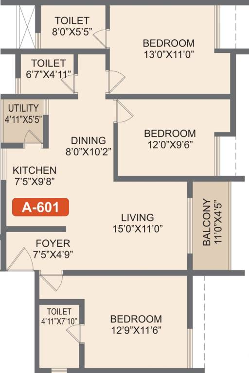 Rohan-Akriti-3bhk-1414-sqft-floorplan