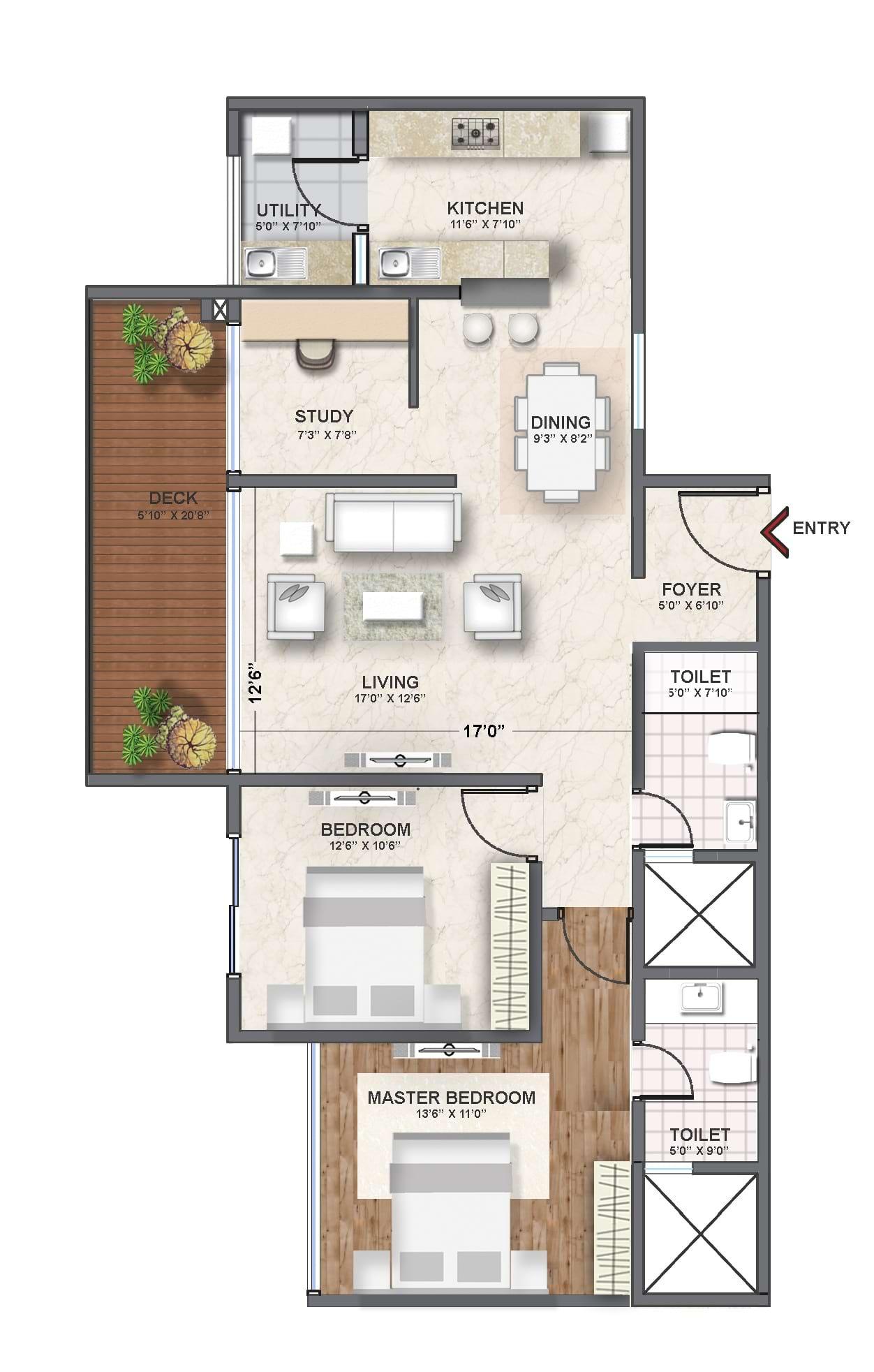 Shriram-Southern-Crest-3bhk-1485-sqft-floorplan
