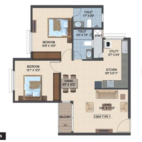 Salarpuria-Sattva-Laurel-Heights-2bhk-992-sqft-floorplan