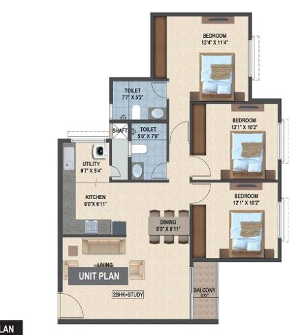 Salarpuria-Sattva-Laurel-Heights-3bhk-1240-sqft-floorplan
