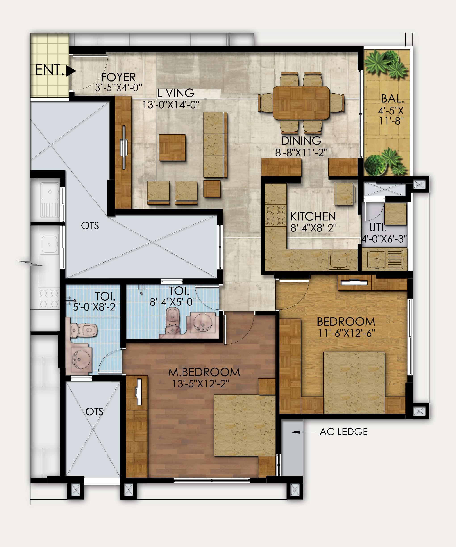Mahaveer-Ranches-2bhk-1201-sqft-floorplan