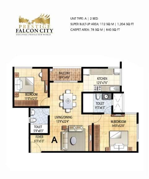 Prestige-Falcon-City-2bhk-1204-sqft-floorplan
