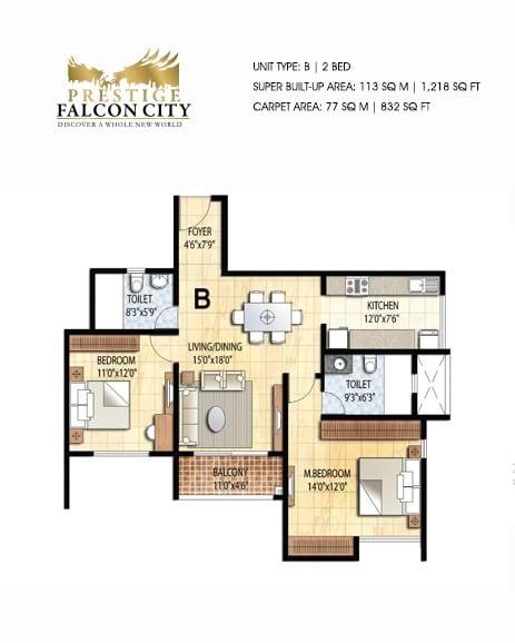 Prestige-Falcon-City-2bhk-1218-sqft-floorplan