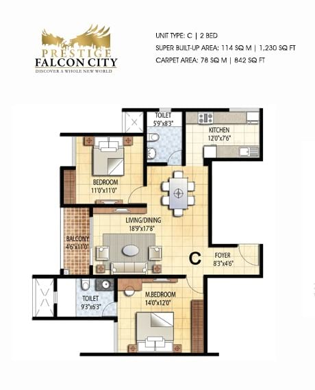 Prestige-Falcon-City-2bhk-1230-sqft-floorplan