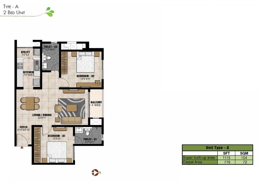 Prestige-Park-Square-2bhk-1115-sqft-floorplan