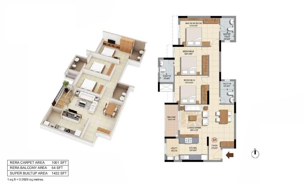 Ozone-Urbana-Prime-3bhk-1432-sqft-floorplan