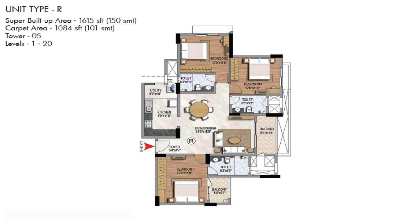 Prestige Misty Waters 3 BHK 1615 Floorplan