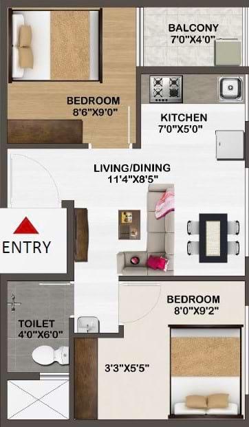 Sowparnika-Unnathi-Floor-Plan-2bhk-590Sqft