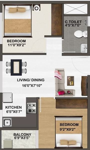 Sowparnika-Unnathi-Floor-Plan-2bhk-625Sqft