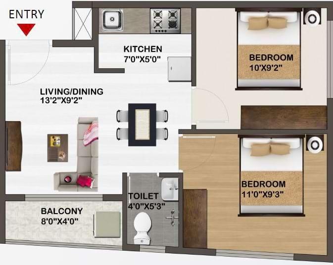 Sowparnika-Unnathi-Floor-Plan-2bhk-635Sqft