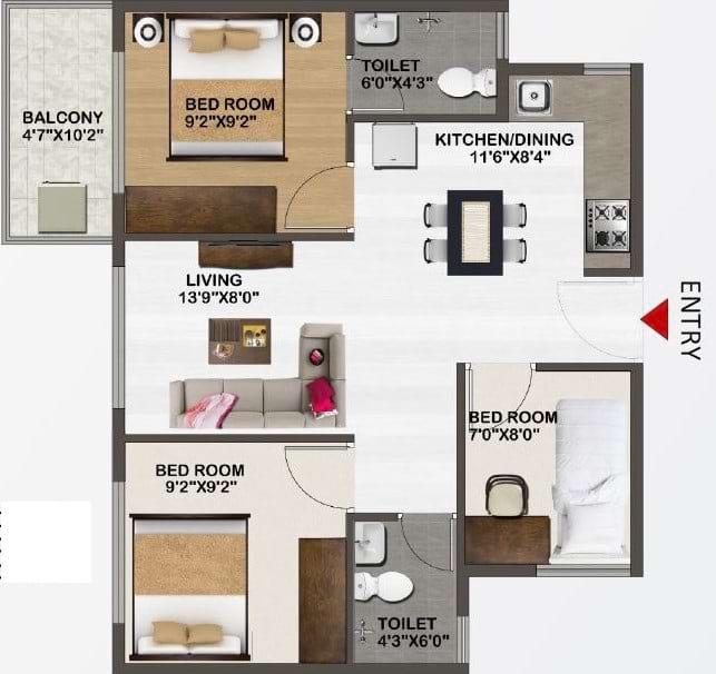Sowparnika-Unnathi-Floor-Plan-3bhk-858Sqft