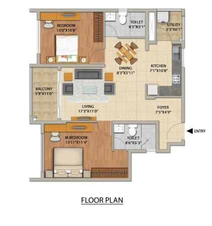 Adarsh PineCourt 2 BHK Floorplan