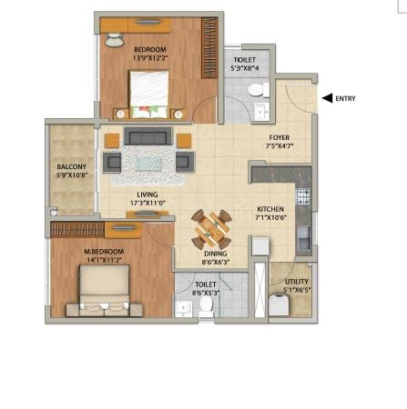 Adarsh PineCourt 2 BHK 1186 Floorplan