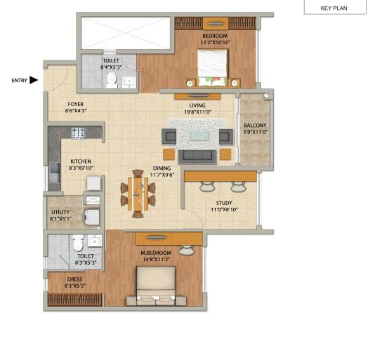 Adarsh PineCourt 3 BHK 1506 Floorplan