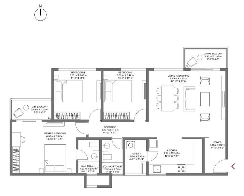 Godrej-Air-NXT-Floorplan-3bhk-1570