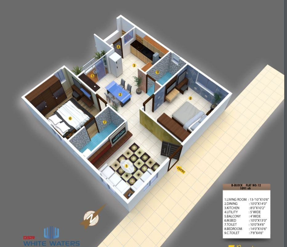 DSR-White-Waters-2bhk-1091