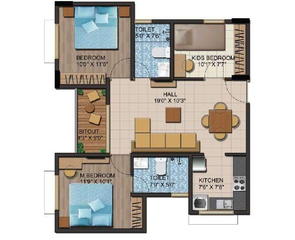 Shriram-Liberty-Square-Floorplan-3bhk-1010