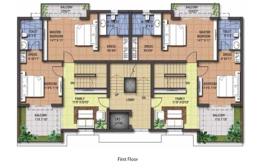 LGCL One Street 3BHK 2027 sqft First Floorplan