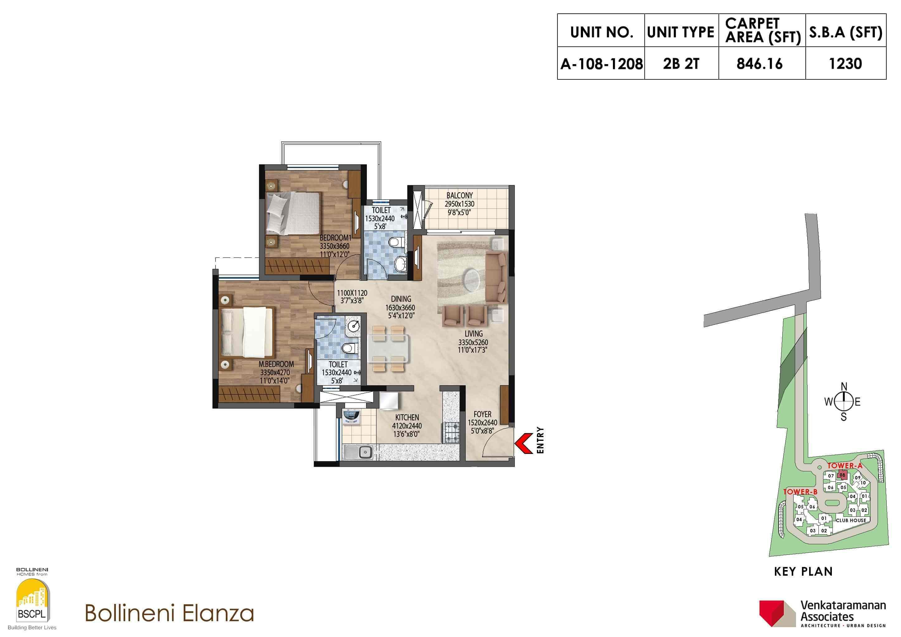 Bollineni Elanza 2 BHK Floorplan