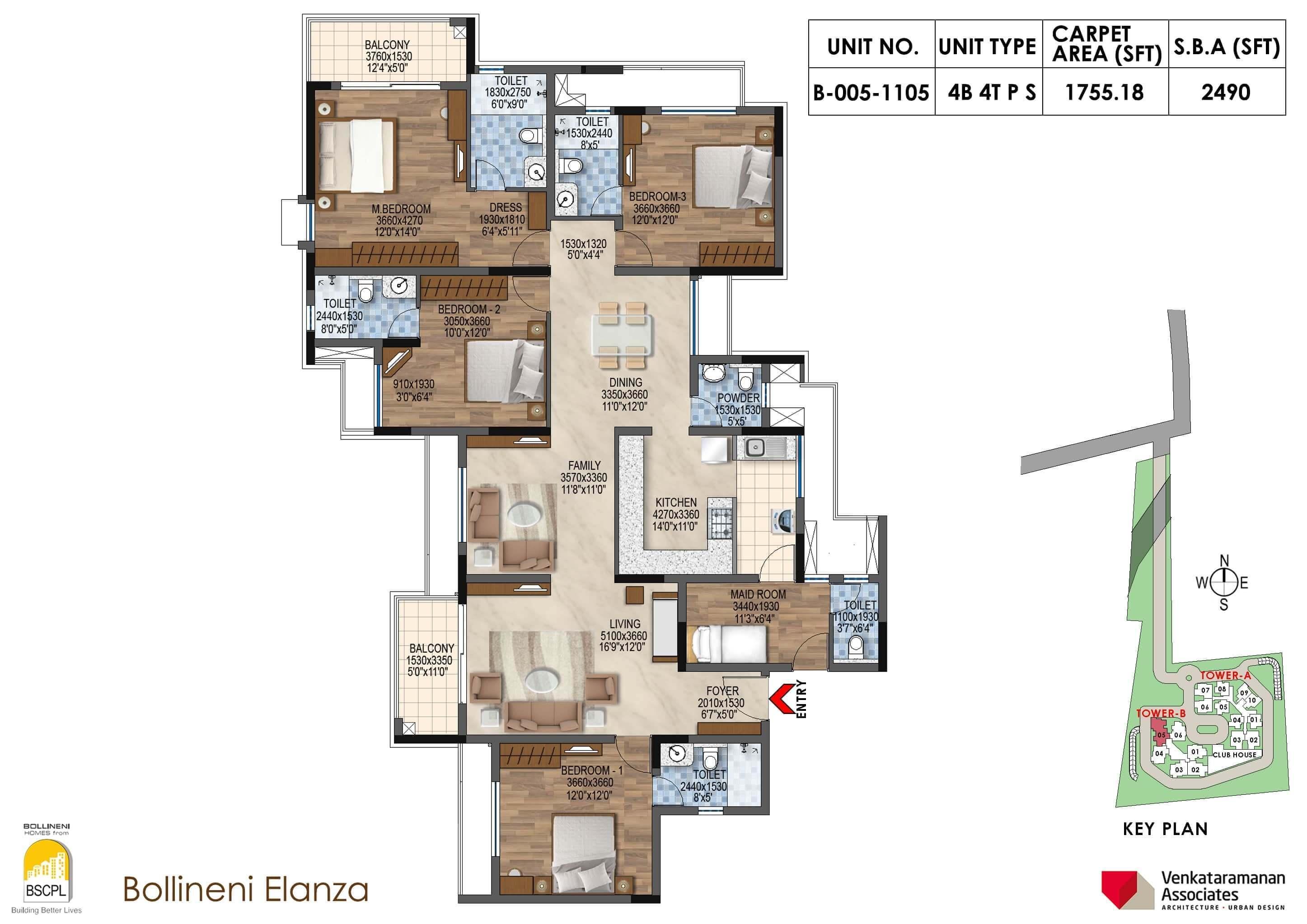 Bollineni Elanza 4 BHK 2490 Floorplan