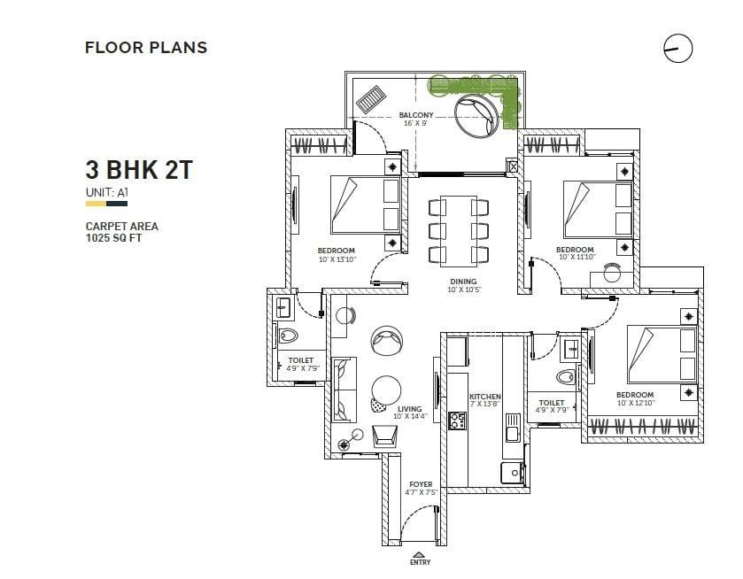Assetz Sun and Santum 3 BHK 1300 Floorplan