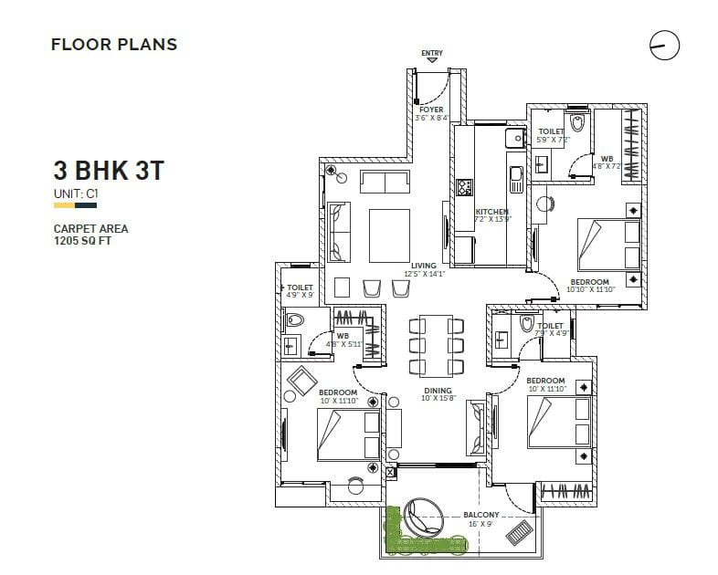 Assetz Sun and Santum 3 BHK 1600 Floorplan