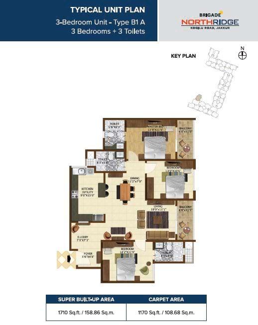 Brigade Northridge 3 BHK 1710 sqft Floorplan