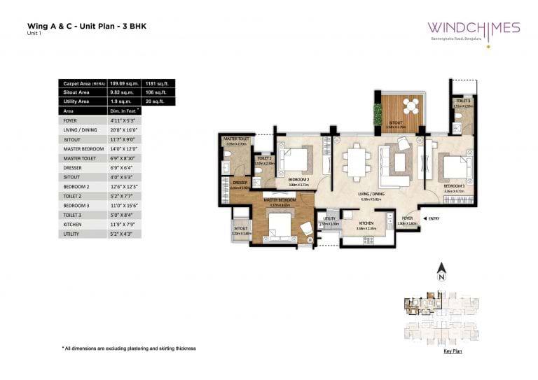 Mahindra Windchimes 3 BHK Floorplan