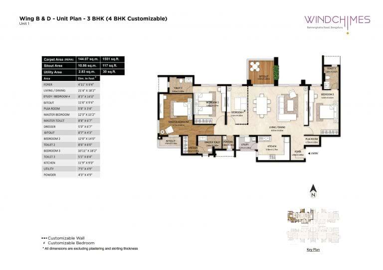 Mahindra Windchimes 4 BHK 1551 Sqft Floorplan