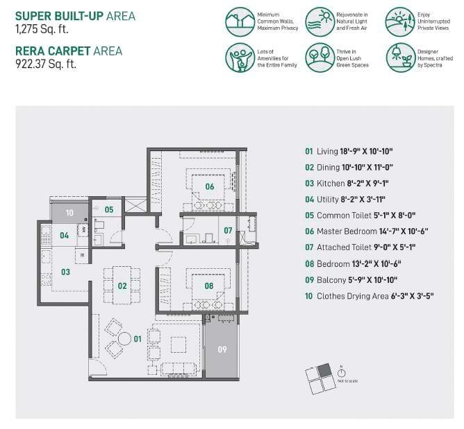 Spectra Raaya 2 BHK 1275 sqft floorplan 2 BHK Apartments in Whitefield
