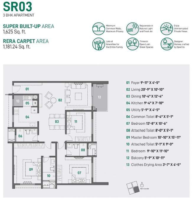 Spectra Raaya 3 BHK 1625 sqft floorplan 3 BHK Apartments in Whitefield