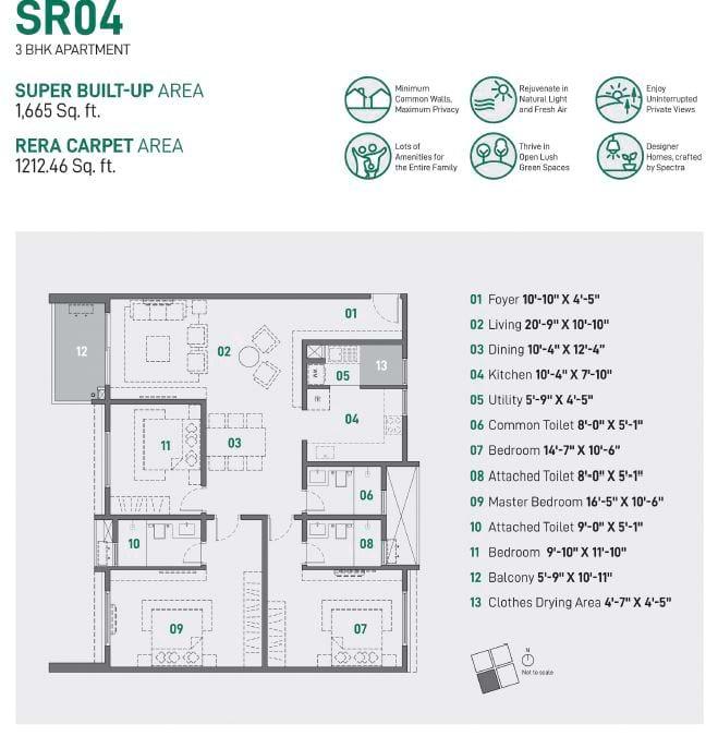Spectra Raaya 3 BHK 1665 sqft floorplan 3 BHK Apartments in Whitefield