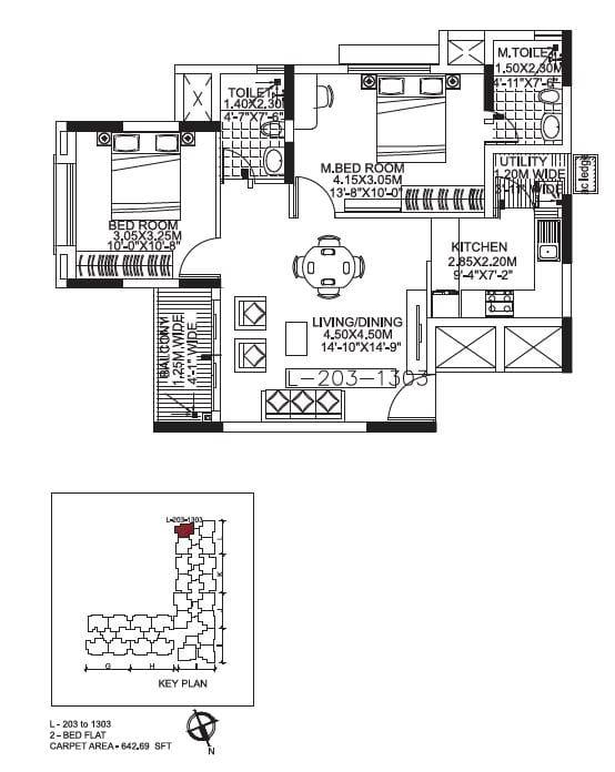 Kolte Patil Raaga 2 BHK 642 Sqft floorplan