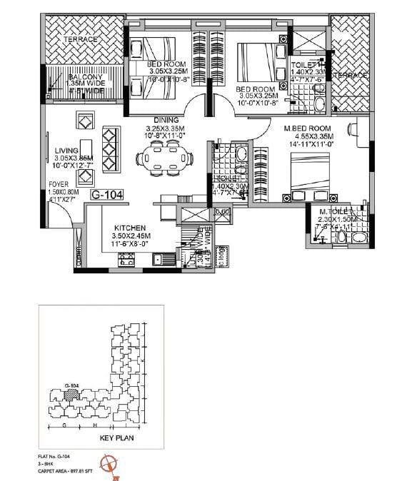 Kolte Patil Raaga 3 BHK 897 Sqft floorplan